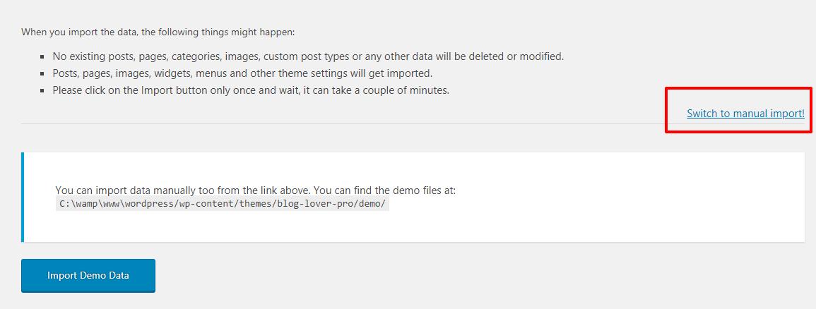 Magic Blog Pro Import Demo Data Switch Manual Theme Palace
